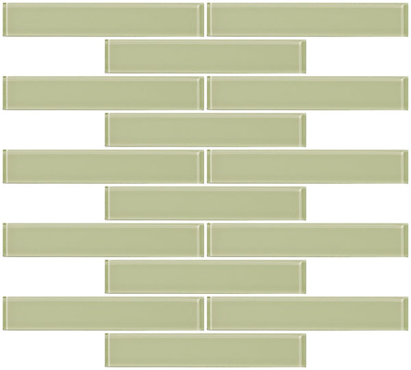 1x6 Inch Light Celery Yellow Green Glass Subway Tile Reset In Running-brick Layout