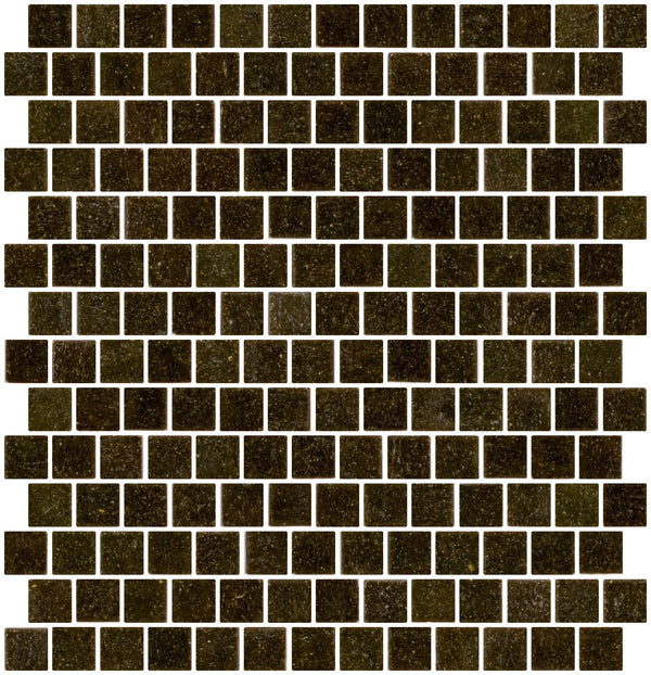 3/4 Inch Dark Tobacco Brown Glass Tile Reset In Offset Layout