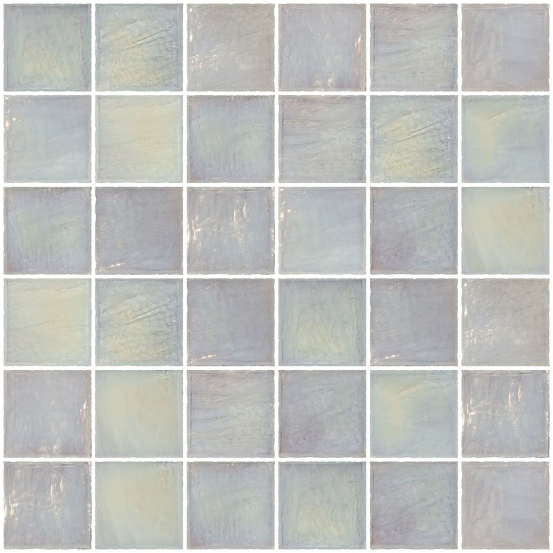 2x2 Inch Icy White Iridescent Glass Tile