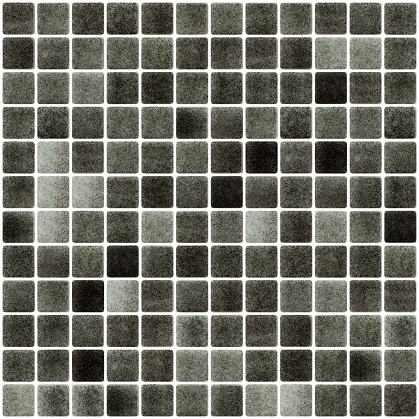 1 Inch Charcoal Gray Dapple on White Recycled Glass Tile