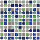 Blue Green Glass Tiles and Stainless Steel Mix