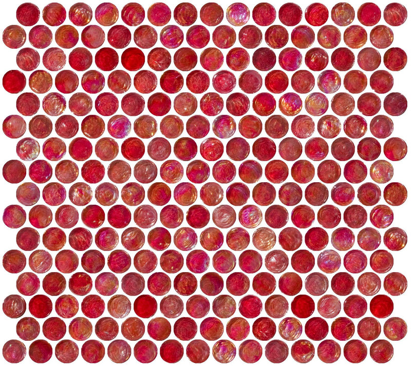 Penny Round Red Iridescent Glass Tile