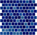 1 Inch Cobalt Blue Dapple on White Recycled Glass Tile