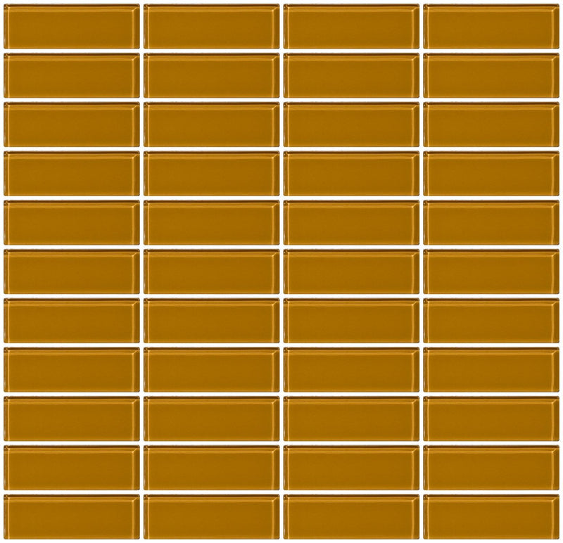 1x3 Inch Caramel Brown Glass Subway Tile Stacked