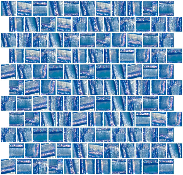 1 Inch Atmospheric Blue Textured Recycled Glass Tile Offset