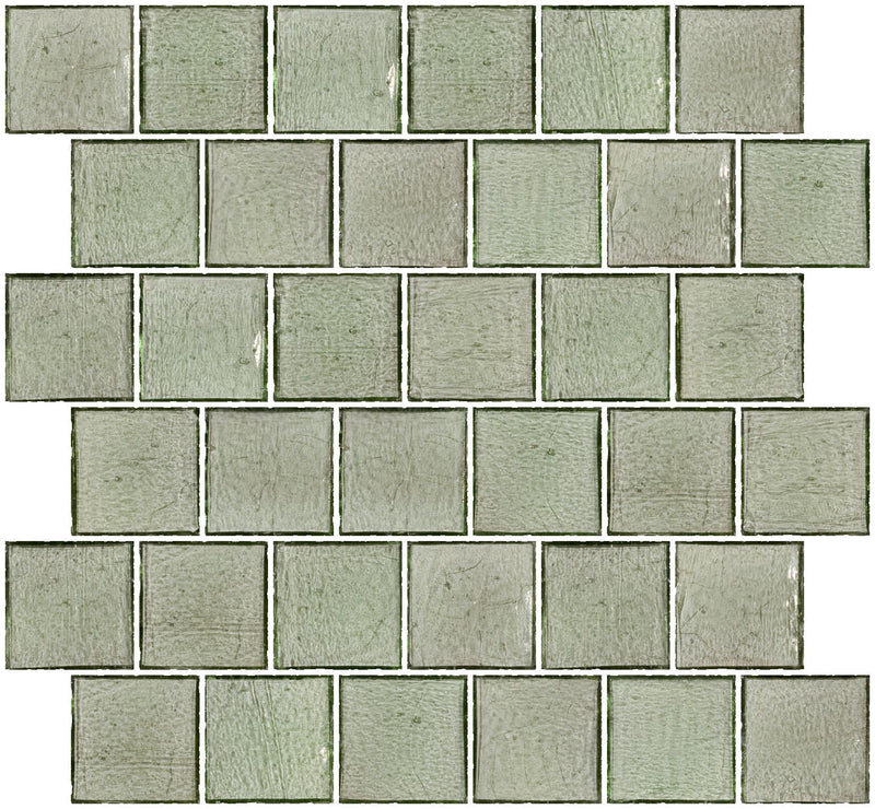2x2 Inch Transparent Green Glass Tile Reset In Offset Layout