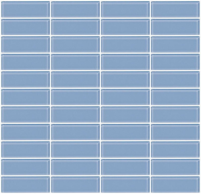 1x3 Inch Pale Sky Blue Glass Subway Tile Stacked
