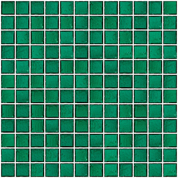 1 Inch Transparent Teal Green Glass Tile