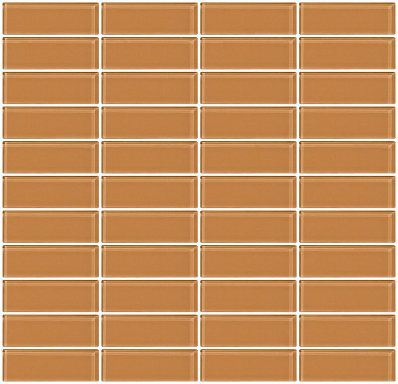 1x3 Inch Peach Beige Brown Glass Subway Tile Stacked