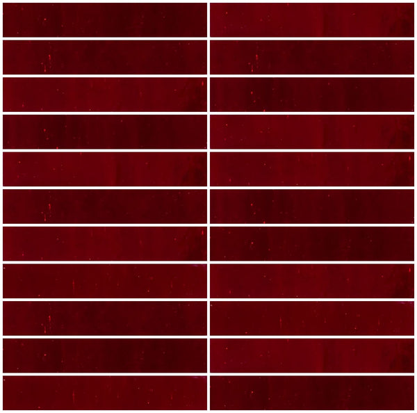 1x6 Inch Crimson Red Mirror Glass Tile