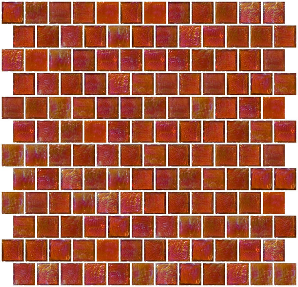 1 Inch Retro Orange Iridescent Glass Tile Reset In Offset Layout