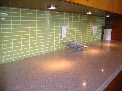 1x3 Inch Lime Green Glass Subway Tile Stacked