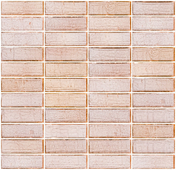1x3 Inch Blush Pink Transparent Glass Subway Tile Stacked