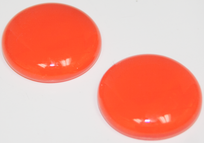 1 Inch Round Orange Opaque Fused Glass Accent Tile