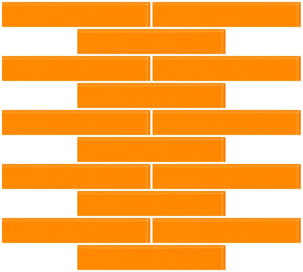 1x6 Inch Orange Glass Subway Tile Reset In Running-brick Layout