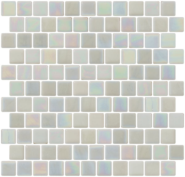 1 Inch Steam White Iridescent Recycled Glass Tile