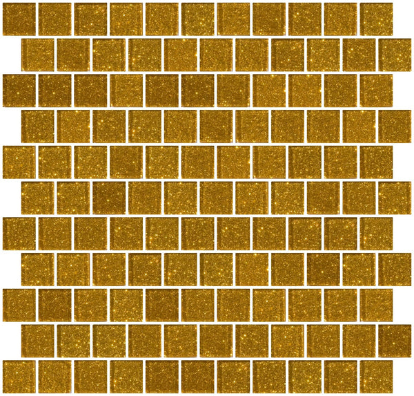 1 Inch Gold Glitter Glass Tile Offset