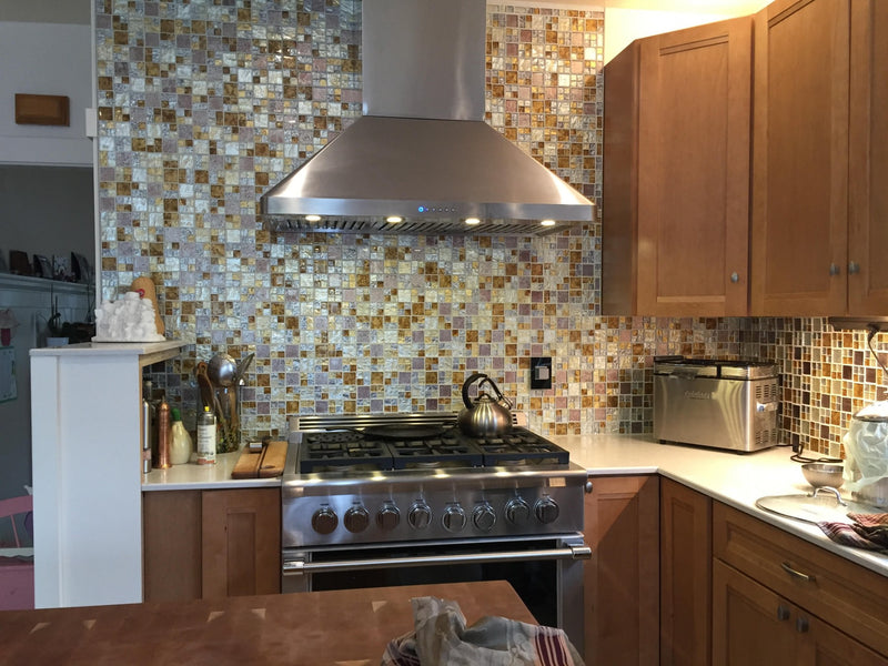 Silver, Gold, and Taupe Metallic Glass Tile Mix
