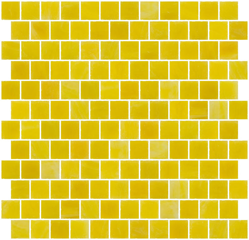 1 Inch Opaque Sunshine Yellow Glass Tile Reset In Offset Layout