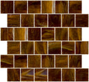 2x2 Inch Opaque Deep Brown Glass Tile Reset In Offset Layout