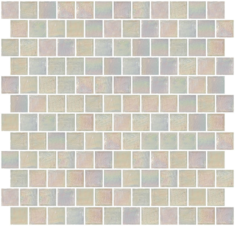 1 Inch Icy White Iridescent Glass Tile Reset In Offset Layout