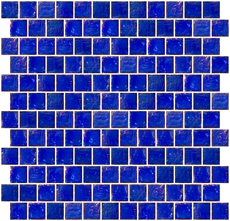 1 Inch Cobalt Blue Iridescent Glass Tile Reset In Offset Layout
