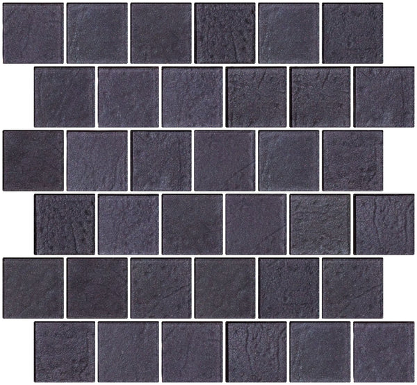 2x2 Inch Violet Blue Slate Metallic Glass Tile Reset In Offset Layout
