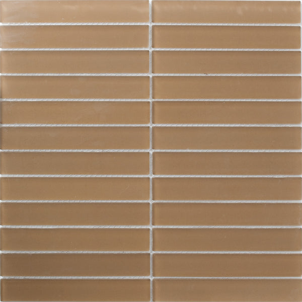 Sheet of 1x6 Inch Tobacco Brown Frosted Glass Subway Tile