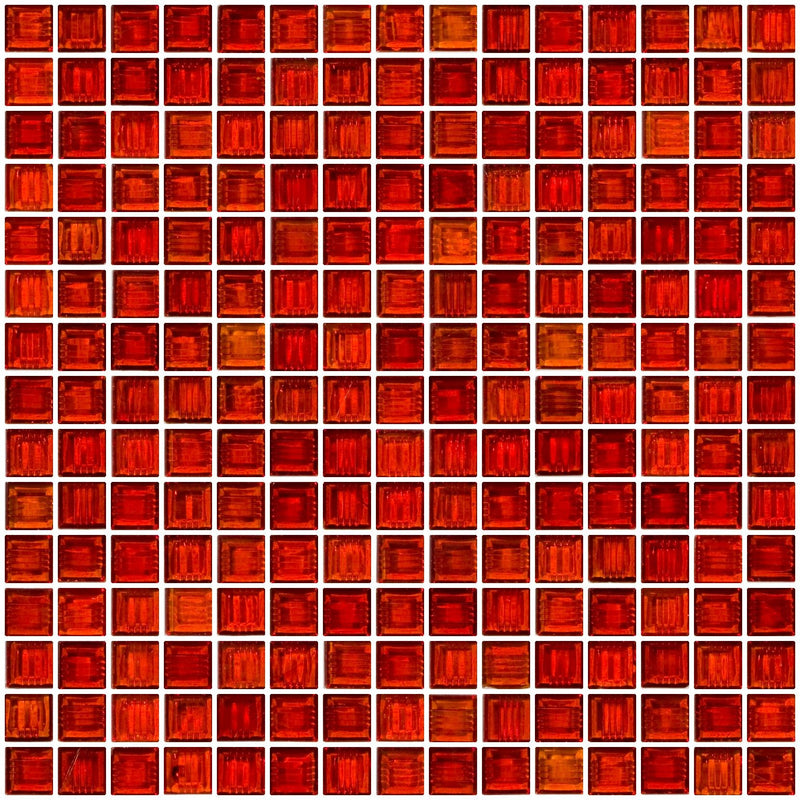 3/4 Inch Transparent Paprika Red Glass Tile