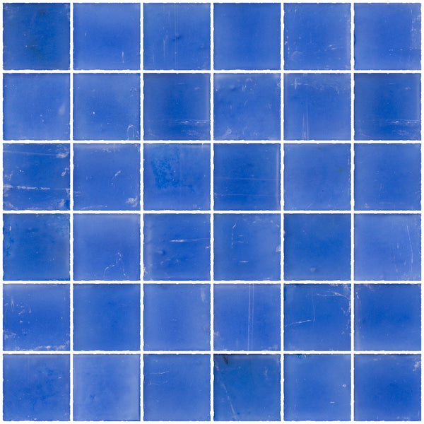 2x2 Inch Matte Medium Blue Glass Tile