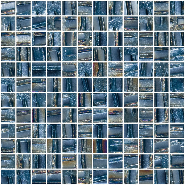 1 Inch Industrial Blue Textured Recycled Glass Tile