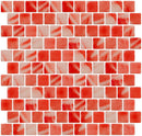 1 Inch Candy Cane Red Recycled Glass Tile Offset