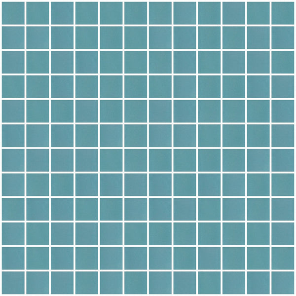1 Inch Frosted Teal Blue Mirror Glass Tile