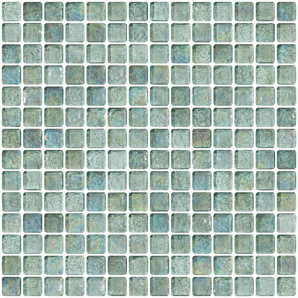 3/4 Inch Aqua Iridescent Glass Tile