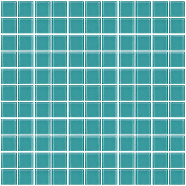 1 Inch Light Teal Green Glass Tile