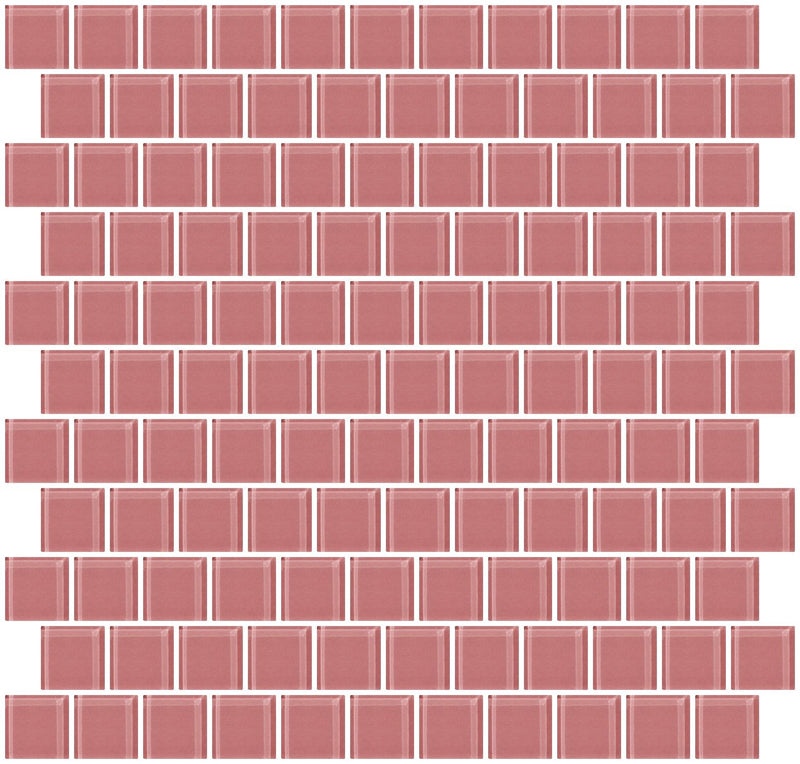 1 Inch Mauve Pink Glass Tile Reset In Offset Layout