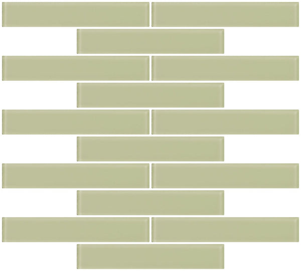 1x6 Inch Light Celery Yellow Green Frosted Glass Subway Tile
