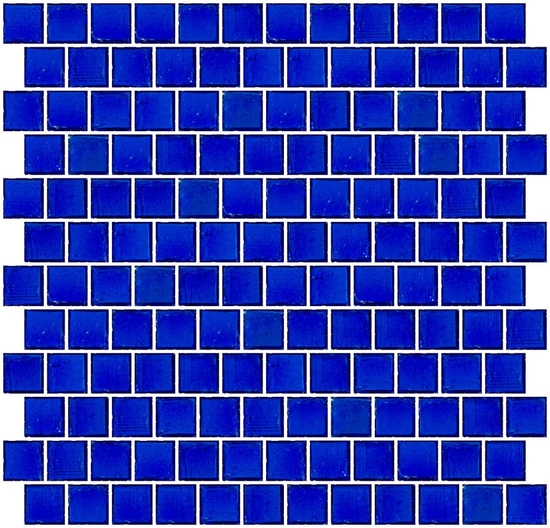 1 Inch Transparent Cobalt Blue Glass Tile Reset In Offset Layout