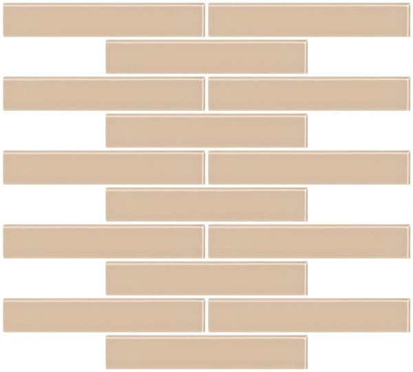 1x6 Inch Wheat Brown Glass Subway Tile Reset In Running-brick Layout