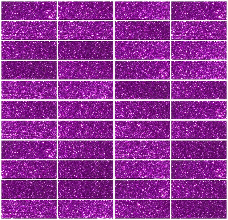1x3 Inch Purple Violet Glitter Glass Subway Tile Stacked