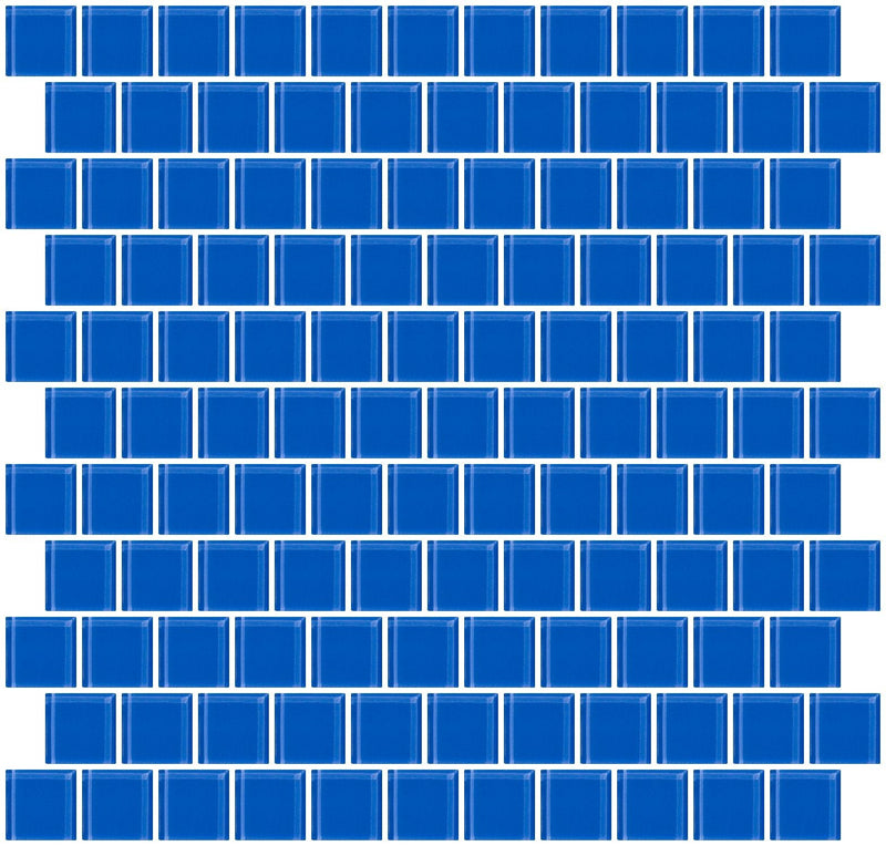 1 Inch Periwinkle Blue Glass Tile Reset In Offset Layout