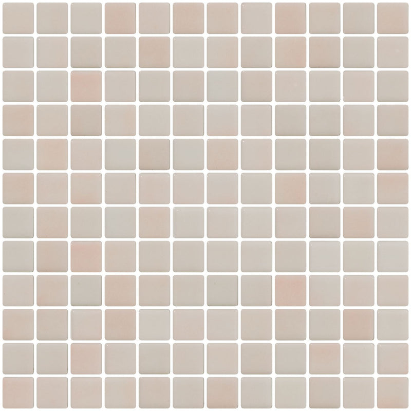 1 Inch Blush Pink Dapple on White Recycled Glass Tile