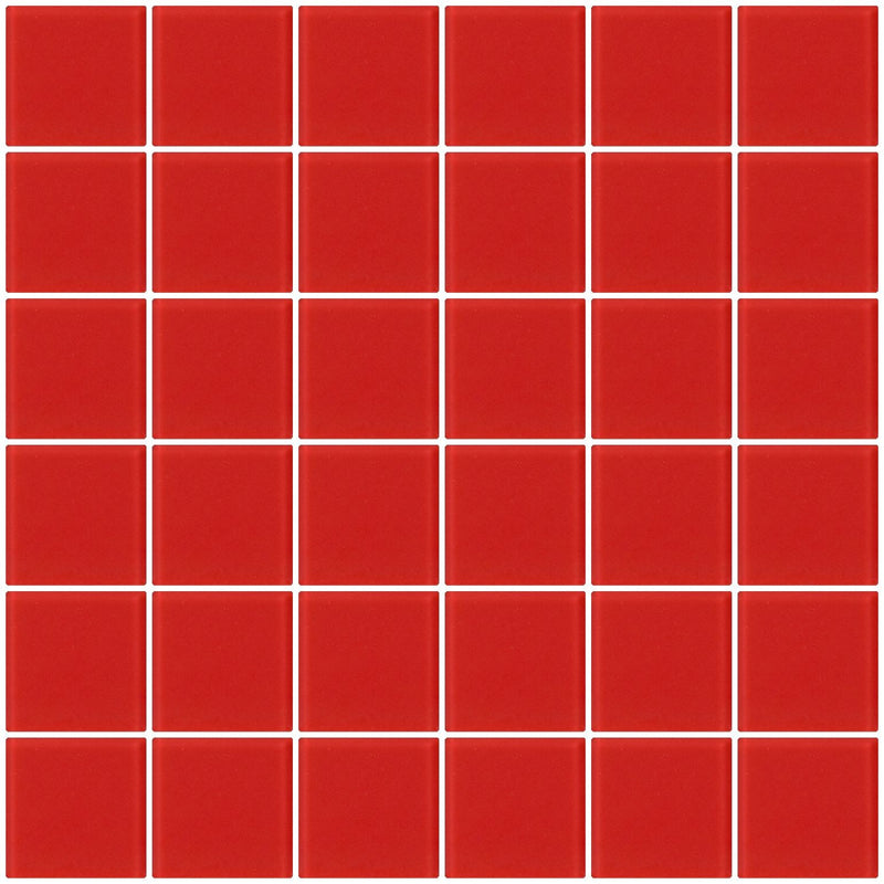 2x2 Inch TOMATO Red Frosted Glass Tile