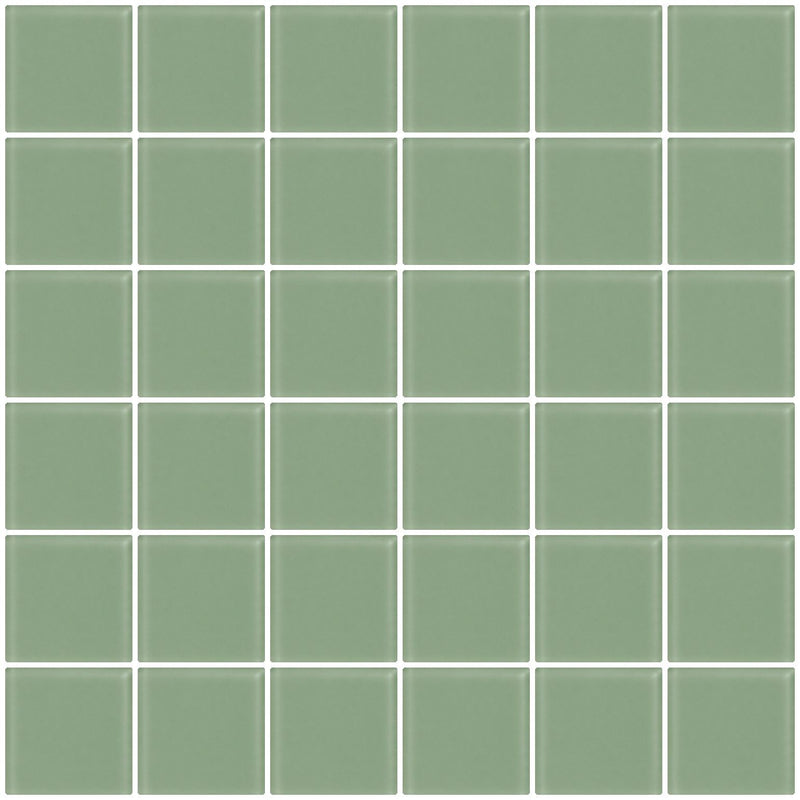 2x2 Inch Light Sage Green Frosted Glass Tile