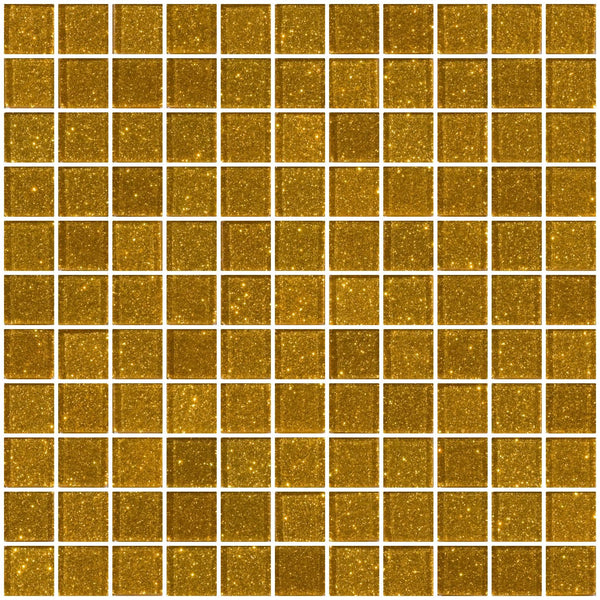 1 Inch Gold Glitter Glass Tile
