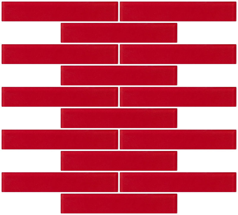 1x6 Inch Red Frosted Glass Subway Tile Reset In Running-brick Layout