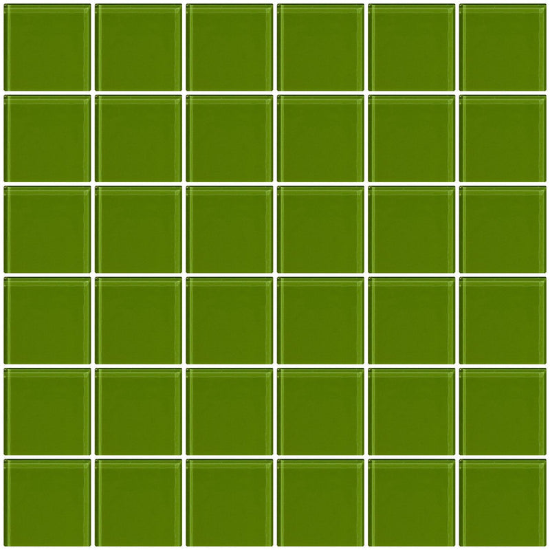 2x2 Inch Dark Lime Green Glass Tile