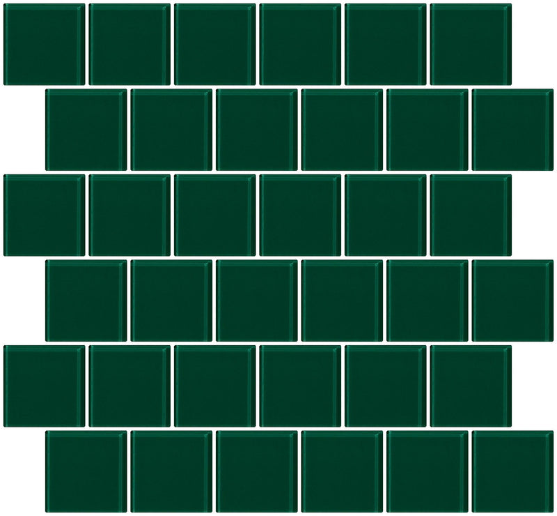 2x2 Inch Emerald Teal Green Glass Tile Offset