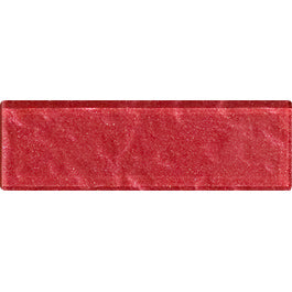 Sample of 1x3 Inch Red Rose Metallic Glass Subway Tile Stacked