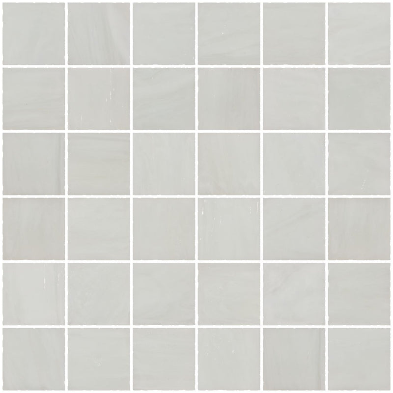 2x2 Inch Opaque White Cloud Glass Tile